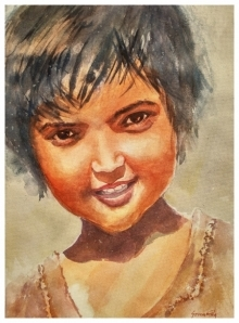 Portrait Watercolor Art Painting title Happy by artist Soven Roy