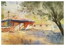 Landscape Watercolor Art Painting title Orange Hut by artist Soven Roy