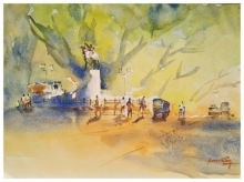 Landscape Watercolor Art Painting title 'Fine morning at JM Road Pune' by artist Soven Roy