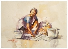 Lifestyle Watercolor Art Painting title Lady washing clothes by artist Soven Roy