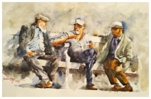 Lifestyle Watercolor Art Painting title Deep discussion by artist Soven Roy