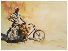 Cityscape Watercolor Art Painting title 'Coconut Seller' by artist Soven Roy