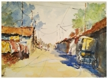Landscape Watercolor Art Painting title 'Resting Rickshaw' by artist Soven Roy