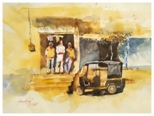 Cityscape Watercolor Art Painting title 'Chatting' by artist Soven Roy
