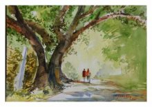 Landscape Watercolor Art Painting title 'Lets Go For A Walk' by artist Soven Roy