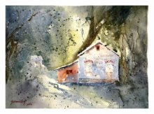 Landscape Watercolor Art Painting title 'Morning Rays Through Trees' by artist Soven Roy