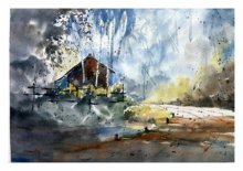 Landscape Watercolor Art Painting title 'House at the corner' by artist Soven Roy