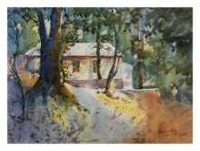 Landscape Watercolor Art Painting title FOREST HOUSE by artist Soven Roy