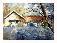 Landscape Watercolor Art Painting title Morning Rays by artist Soven Roy