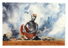 Figurative Watercolor Art Painting title 'Lighting Fire' by artist Soven Roy