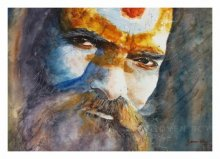 Portrait Watercolor Art Painting title Indian Sage by artist Soven Roy