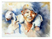 Portrait Watercolor Art Painting title 'My Cute Friend' by artist Soven Roy