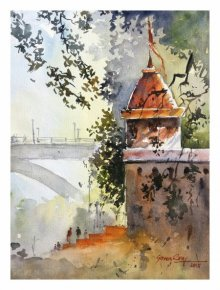 Landscape Watercolor Art Painting title 'Bund Garden Pune' by artist Soven Roy