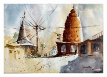 Landscape Watercolor Art Painting title 'Village Temple' by artist Soven Roy