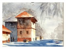 Landscape Watercolor Art Painting title 'Red Konkan House' by artist Soven Roy
