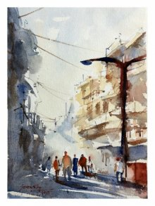 Cityscape Watercolor Art Painting title 'Busy street Pune' by artist Soven Roy