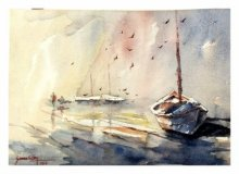 Landscape Watercolor Art Painting title 'Fishing Boat' by artist Soven Roy