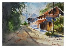 Landscape Watercolor Art Painting title 'Konkan House' by artist Soven Roy