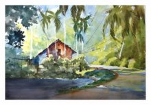 Landscape Watercolor Art Painting title 'Red House At The Corner 2' by artist Soven Roy