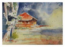 Landscape Watercolor Art Painting title 'Red Konkan House 2' by artist Soven Roy