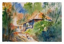 Landscape Watercolor Art Painting title Returning Home by artist Soven Roy