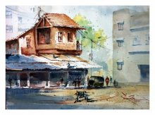 Landscape Watercolor Art Painting title Scene From Pune City by artist Soven Roy