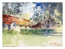 Landscape Watercolor Art Painting title 'Summer Morning 1' by artist Soven Roy