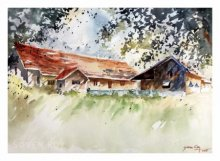 Landscape Watercolor Art Painting title 'Summer Morning 2' by artist Soven Roy