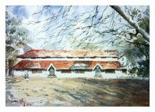 Landscape Watercolor Art Painting title 'Bright Day' by artist Soven Roy