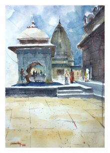 Landscape Watercolor Art Painting title 'Temple At Wai' by artist Soven Roy