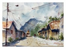 Landscape Watercolor Art Painting title 'Village At Wai' by artist Soven Roy