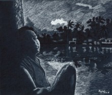 Twilight from boathouse | Drawing by artist Guru Rajesh |  | ink | Paper