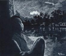 Figurative Ink Art Drawing title 'Twilight from boathouse' by artist Guru Rajesh