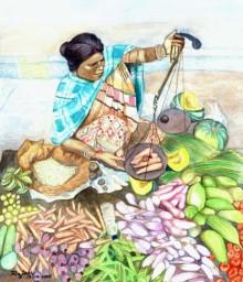 Figurative Watercolor Art Painting title 'Vegetable Vendor' by artist Guru Rajesh