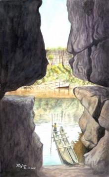 Landscape Watercolor Art Painting title 'Gorgeous' by artist Guru Rajesh