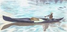 Seascape Watercolor Art Painting title 'Boat in backwaters' by artist Guru Rajesh