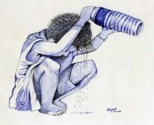 Figurative Pen Art Drawing title 'Cooling Off' by artist Guru Rajesh
