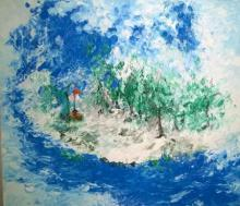 Nature Acrylic Art Painting title 'Warning Flag' by artist Shubhamshiva