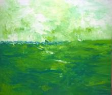 Nature Acrylic Art Painting title 'Green Fields' by artist Shubhamshiva