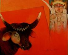 Bull-O- Devi | Painting by artist Arun Samadder | oil | Canvas
