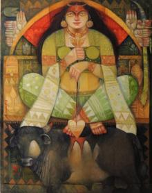 Durga - O - Bull | Painting by artist Arun Samadder | oil | Canvas