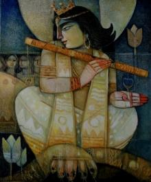 Arun Samadder | Oil Painting title Kaliya Daman on Canvas | Artist Arun Samadder Gallery | ArtZolo.com