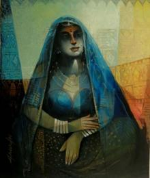 Arun Samadder | Oil Painting title Queen Of Blue City on Canvas | Artist Arun Samadder Gallery | ArtZolo.com