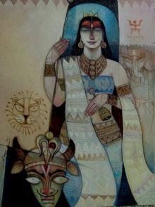 Religious Oil Art Painting title 'Durga' by artist Arun Samadder