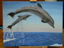 Dolphins | Painting by artist Madhuri Nag | oil | Canvas Board
