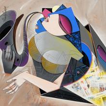 Figurative Acrylic Art Painting title Destination 4 by artist Pradip Sarkar
