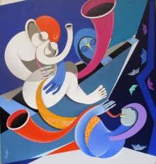 Figurative Acrylic Art Painting title Musicians VIII by artist Pradip Sarkar