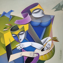 Figurative Acrylic Art Painting title Musicians 1 by artist Pradip Sarkar