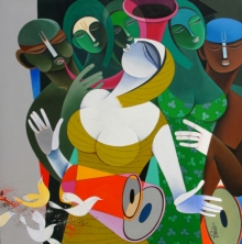 Pradip Sarkar | Acrylic Painting title Rhythm And Melodies 4 on Canvas | Artist Pradip Sarkar Gallery | ArtZolo.com