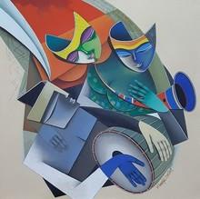 Figurative Acrylic Art Painting title Shakti by artist Pradip Sarkar
